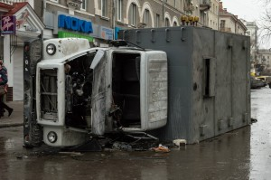 Ternopil riot 1 overturned truck