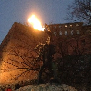 The dragon of Krakow, it really does breath fire!