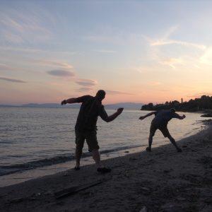 Skipping rocks in the Aegean Sea