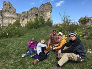 Picnic in the shadow of castle ruins