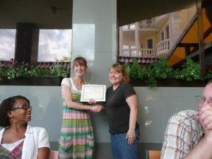 Giving Marilyn her TESOL certificate